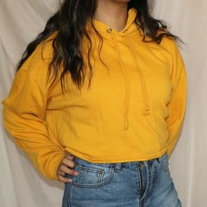 Divided Yellow Cropped Hoodie